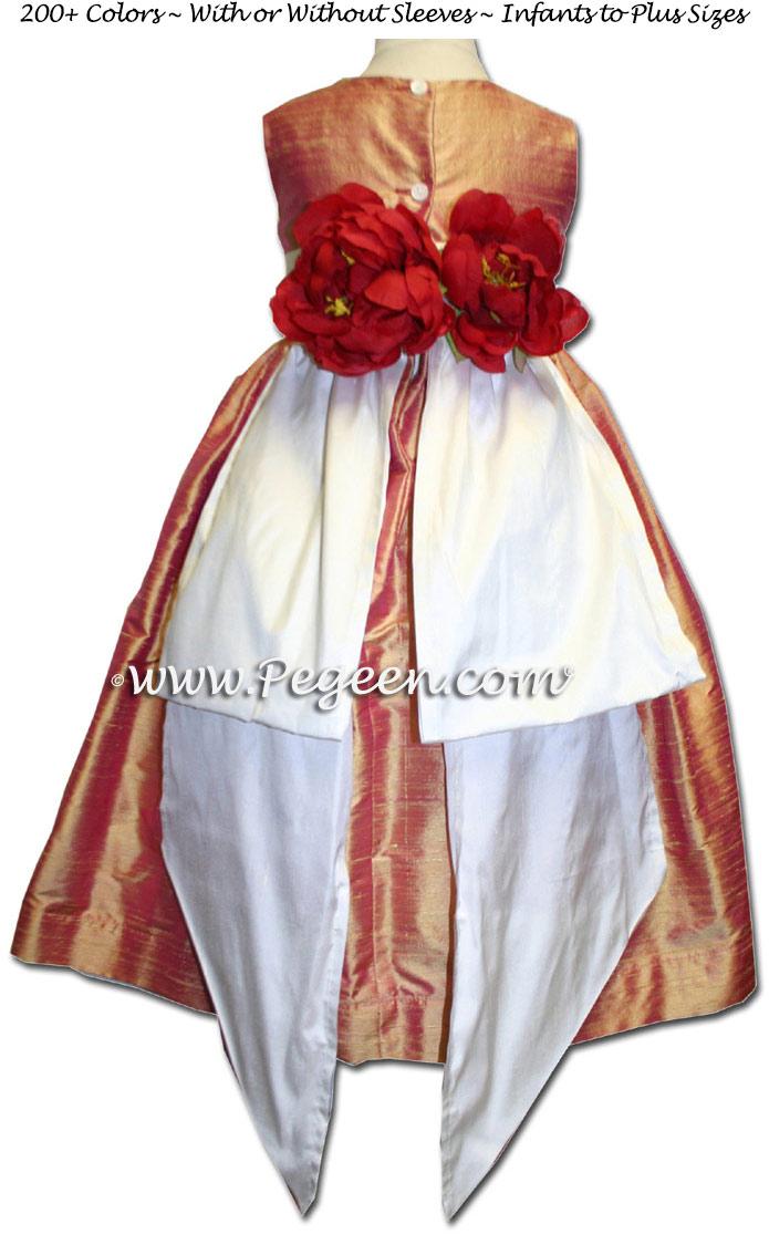 Grapefruit and Antique White matching Jim Hjelm Papaya flower girl dresses Style 383