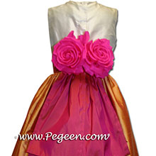 cantelope and sorbet silk  flower girl dresses