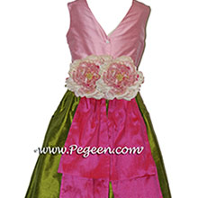 GRASS GREEN BUBBLEGUM PINK AND SHOCKING PINK flower girl dresses