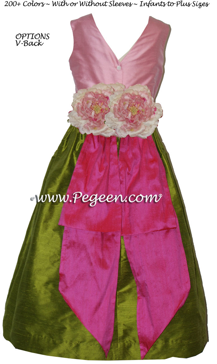 Silk flower girl dresses in Apple Green, Bubble Gum and Boing Hot Pink with V-Bac