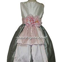New Ivory, Morning Gray and Ice Pink Flower Girl Dresses With Pink Peony Flowers and Bustle