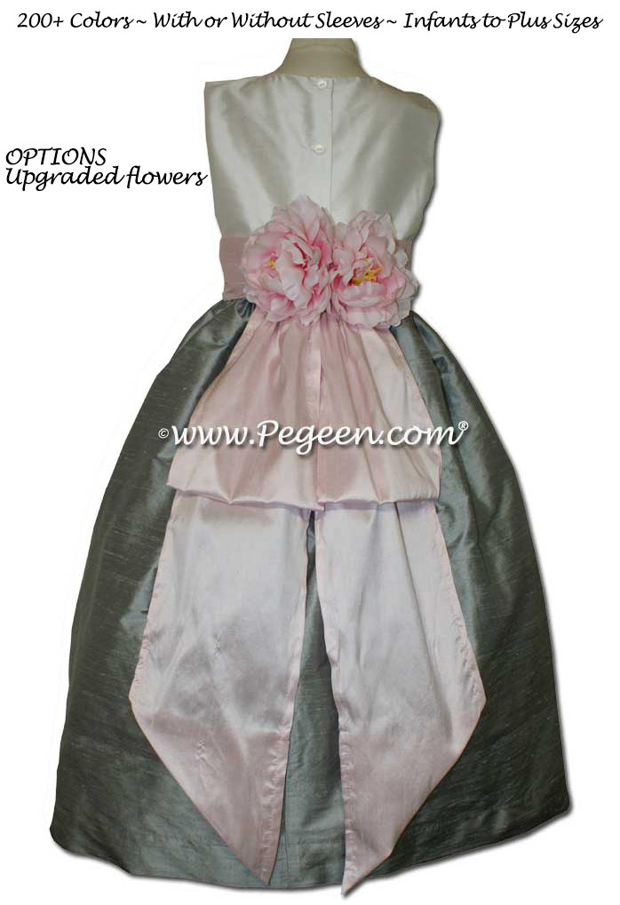 New Ivory, Morning Gray and Ice Pink FLOWER GIRL DRESSES With White Flowers and Bustle