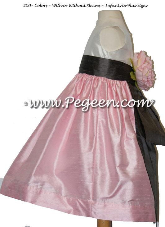 Hibiscus Pink and Pewter Gray flower girl dresses Style 383