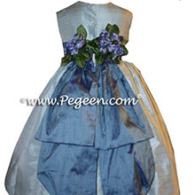 steele blue and hydrangea CUSTOM FLOWER GIRL DRESSES