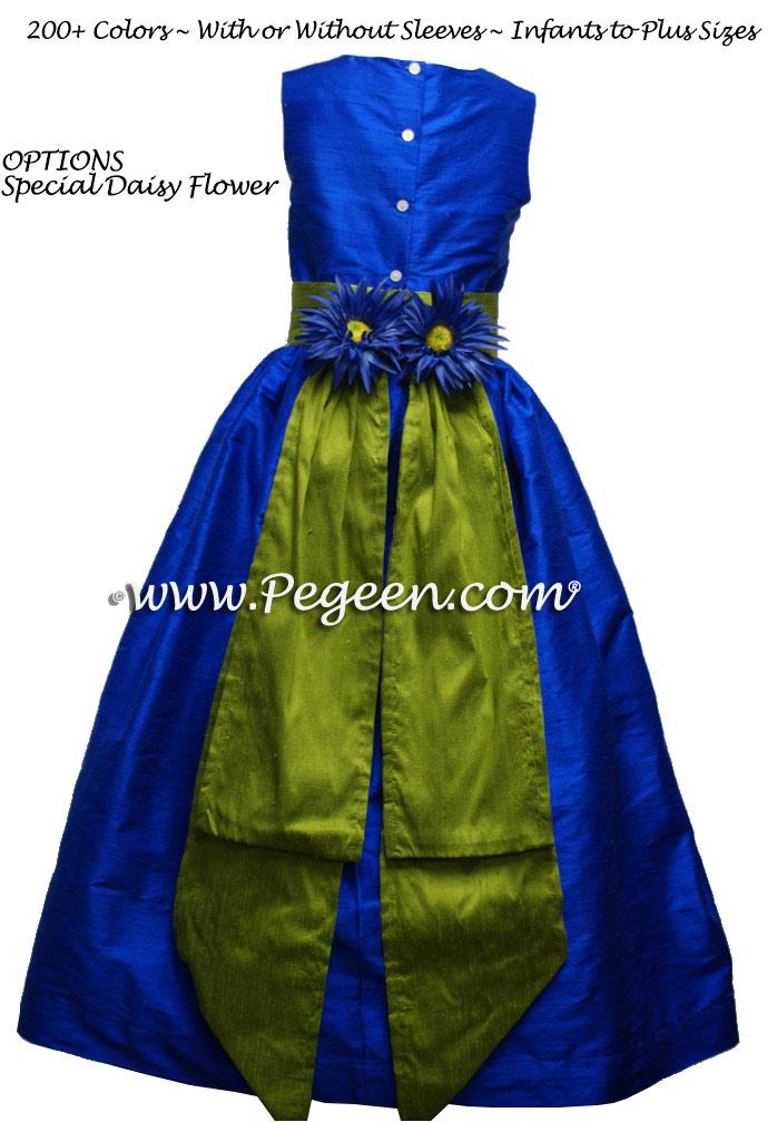 Grass Green and Indigo Blue junior bridesmaid dress style 383