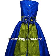 indigo blue and grass green flower girl dresses