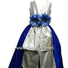 Indigo Blue and   Platinum silver gray junior bridesmaids dresses