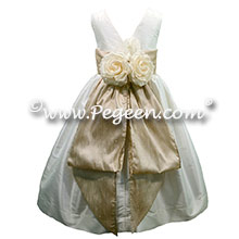 Antique White and Oatmeal silk Flower Girl Dress - Style 383
