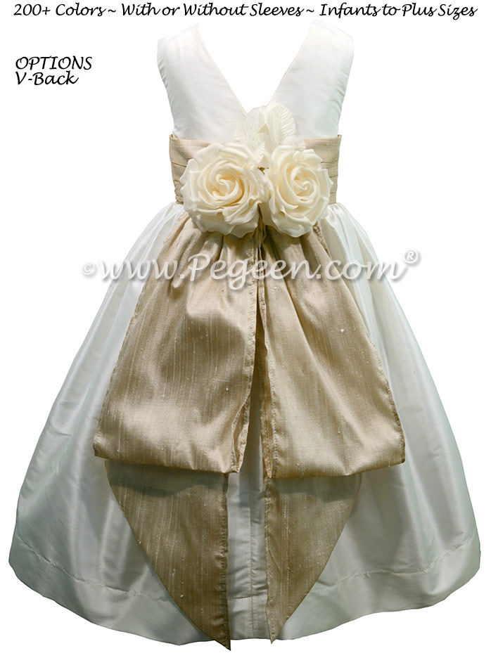 Antique White and Oatmeal silk flower girl dresses
