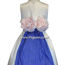 Ivory Satin and Sapphire Flower Girl Dresses style 383
