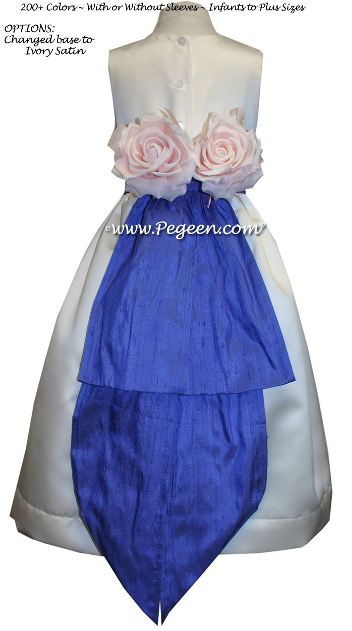 Custom Ivory Satin and Sapphire flower girl dresses style 383