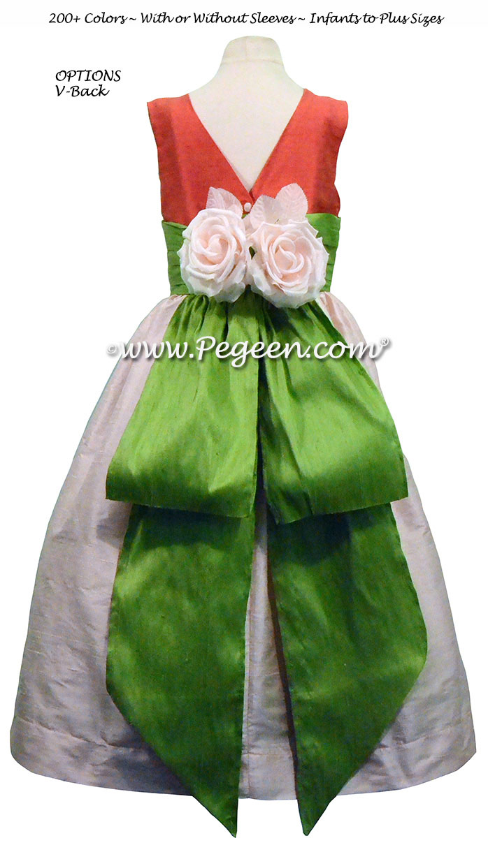 Blush Pink and Apple Green FLOWER GIRL DRESSES with bustle and flowers