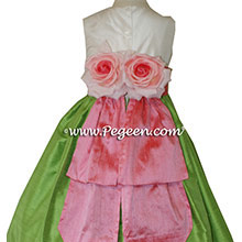 Gumdrop pink and Jasmine Green Flower Girl Dresses by PEGEEN