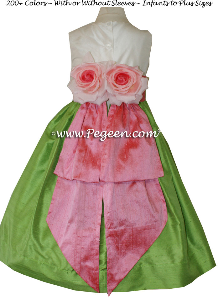 Gumdrop pink and Jasmine Green Infant flower girl dresses Style 383
