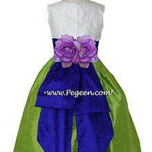 Royal purple and apple green flower girl dresses Style 383