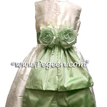 CUSTOM LEAF GREEN GIRL DRESSES