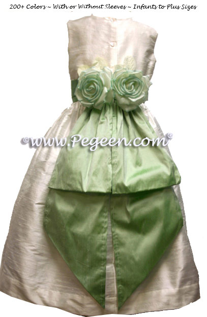 Leaf Green and New Ivory Custom Silk Flower Girl Dress Style 383