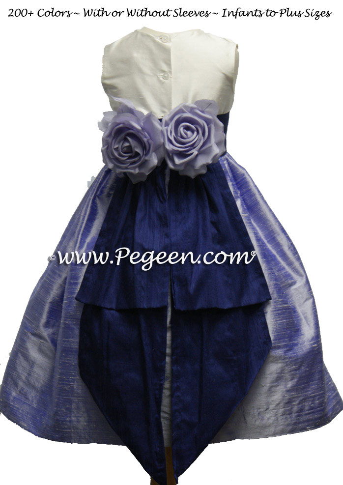 Lilac and Grape Silk flower girl dresses for your wedding party