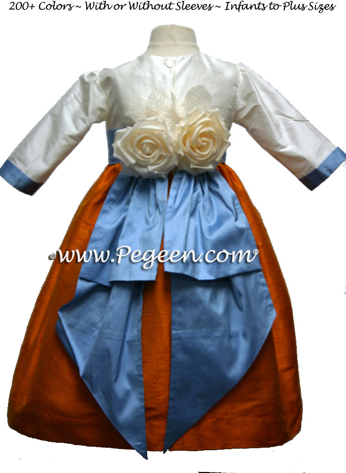 Tangerine and French Blue Silk Flower Girl Dresses with Back Flowers Style 383