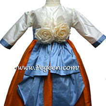 Tangerine and blue long sleeve flower girl dresses