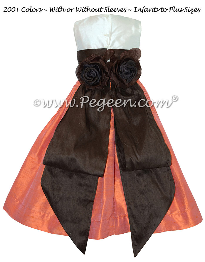 Chocolate brown, mango orange and new ivory flower girl dresses Style 383