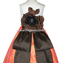 ORANGE, CHOCOLATE AND Antique White CUSTOM FLOWER GIRL DRESSES