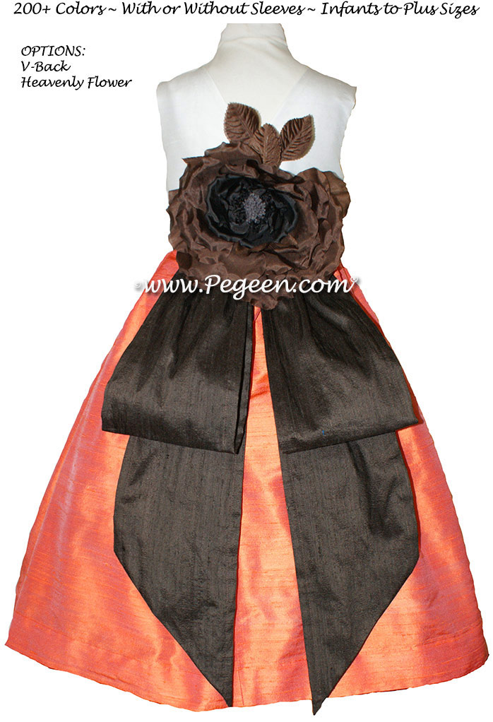 Flower Girl Dresses in Orange and Chocolate Brown - Classic Style 383
