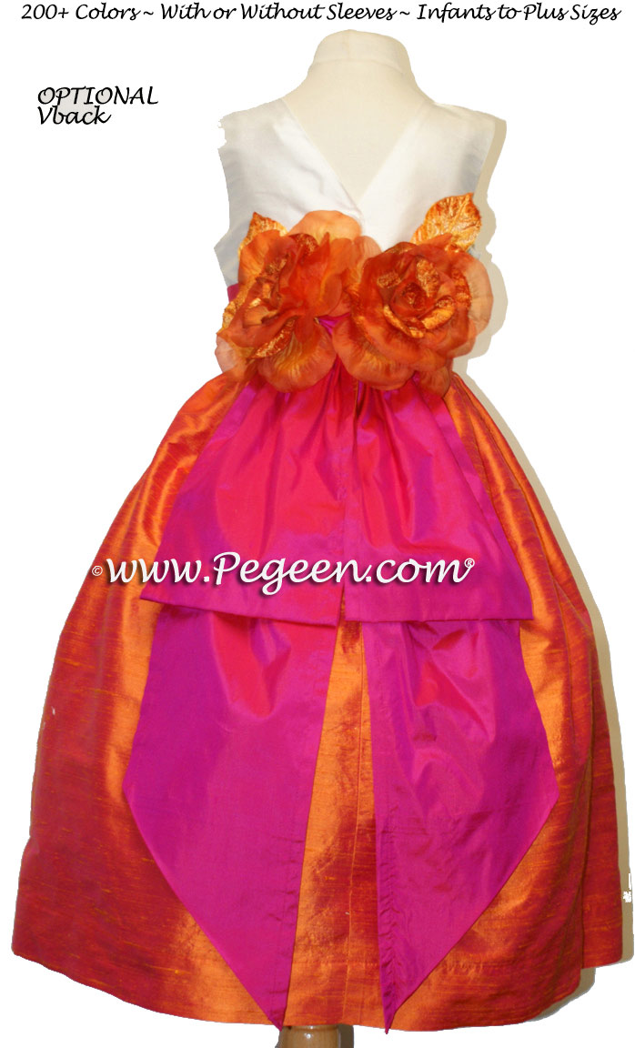 Shock Pink, Tangerine and Antique White Flower Girl Dress with Bustle Style 383
