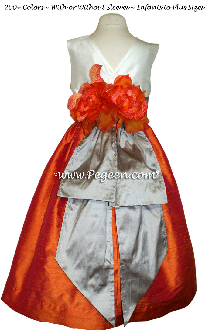 Mango Orange, Wolf Grey and New Ivory Silk flower girl dresses Style 383
