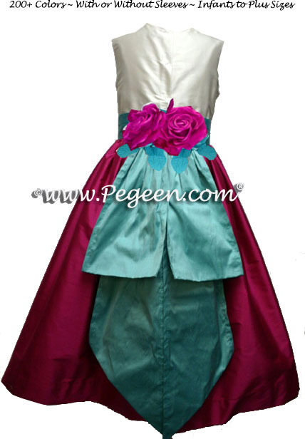 Magenta Pink and Tiffany Blue Flower Girl Dresses Style 383