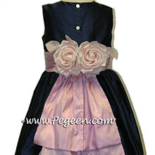 Navy and pink flower girl dresses