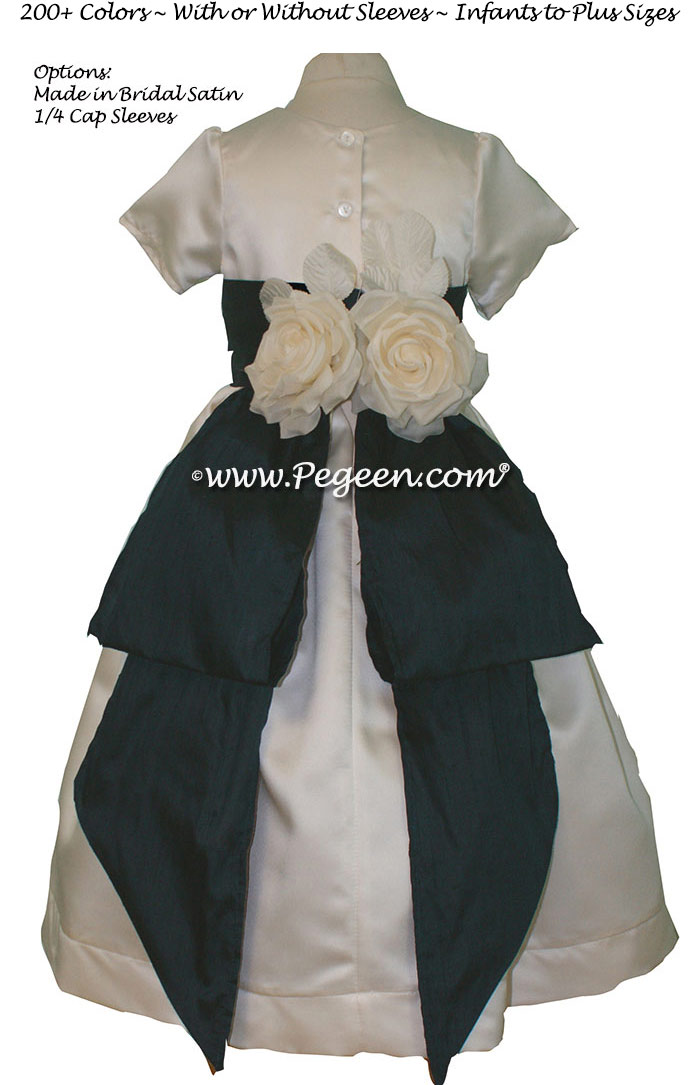 Custom Ivory Satin and Navy flower girl dresses Style 383