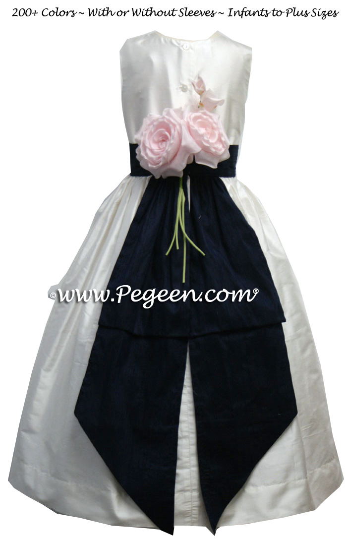 Flower girl dress style 383 in white and navy with trailing roses | Pegeen