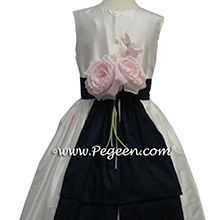 NAVY AND Antique White SILK flower girl dresses