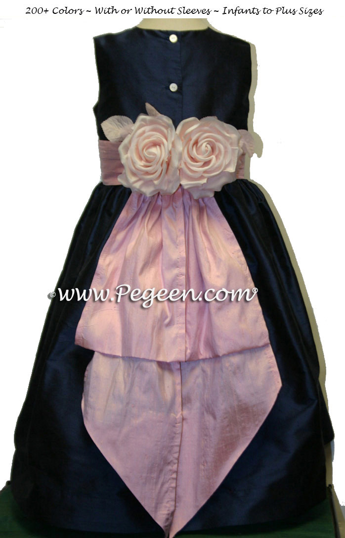 Navy Blue and Pink Flower Girl Dresses with back flowers Classic Style 383