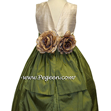Toffee (champagne) and olive green flower girl dresses