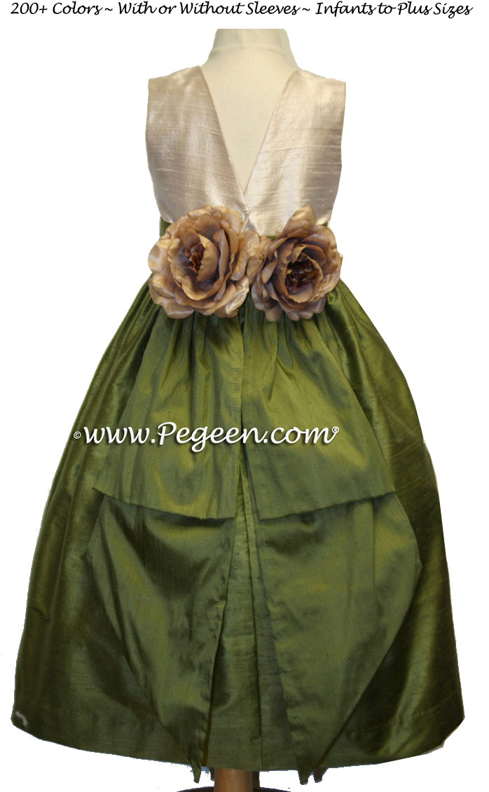 Bisque and Olive Green silk flower girl dress style 383