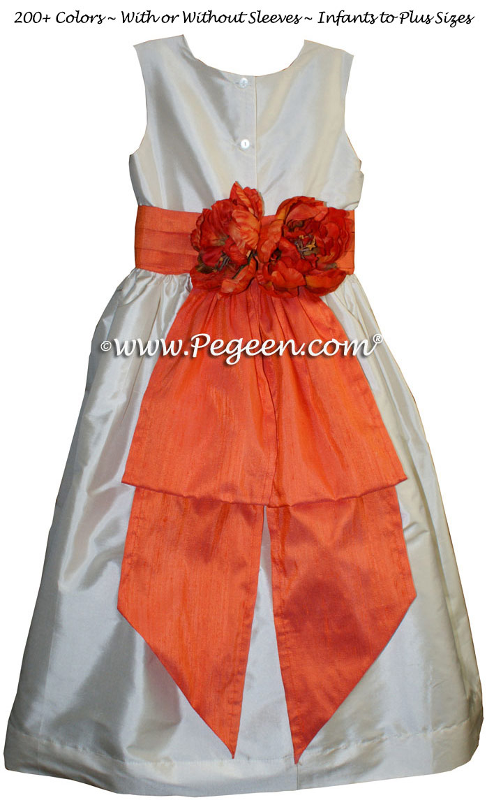 Flower Girl Dresses in Bisque and Orange - Classic Style 383