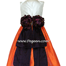 ORANGE, DEEP PLUM AND Antique White Flower Girl Dresses