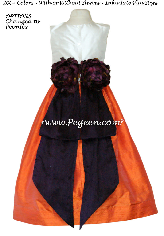 Flower Girl Dresses in Orange< Deep Plum and New Ivory - Classic Style 383
