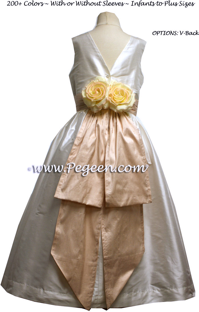 Flower Girl Dresses in New Ivory and Peach - Classic Style 383
