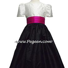 BLACK AND WHITE AND FUSCHIA (BOING) flower girl dresses