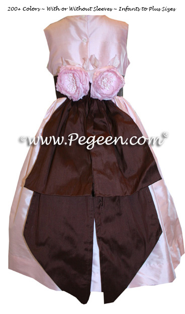 Peony pink and burgundy Custom Silk Flower Girl Dress Style 383