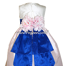 Ivory and Peony Pink and Saphire Blue Flower Girl dress style 383 by Pegeen