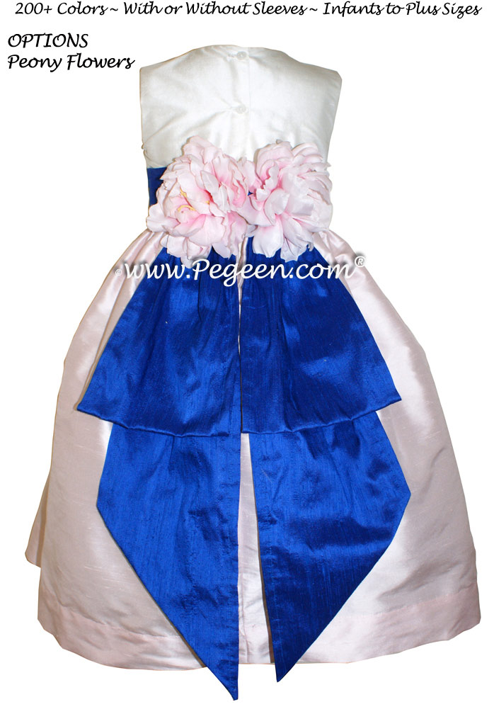 Ivory and Peony Pink and Sapphire Blue Flower Girl dress style 383 by Pegeen
