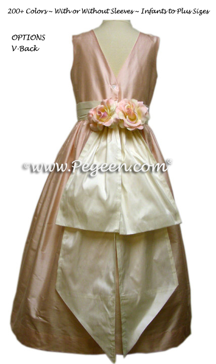 Platinum and New Ivory silk FLOWER GIRL DRESSES