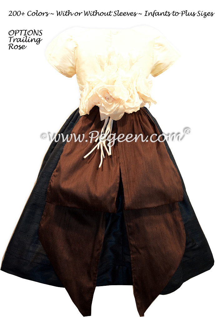 Pewter Gray and Chocolate brown flower girl dresses
