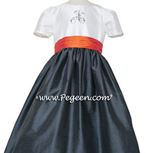 Pewter graw and mango orange monogrammed flower girl dress