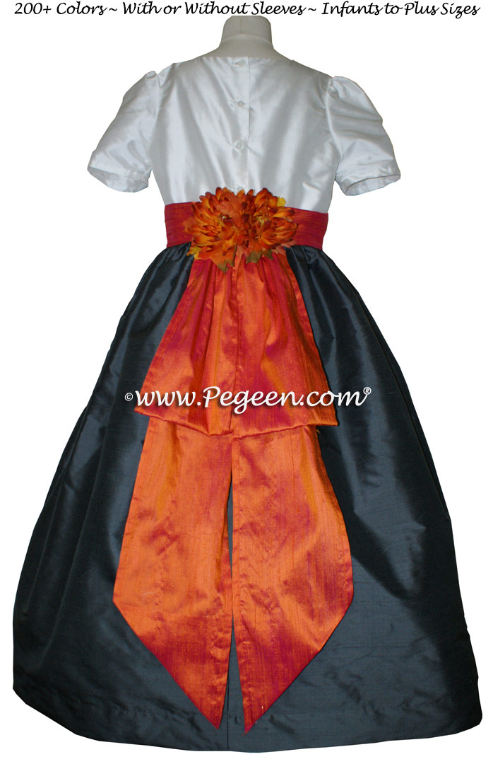 Pewter Gray and Mango Orange Monogrammed Silk Flower Girl Dresses