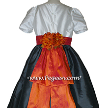 Pewter graw and mango orange silk flower girl dress